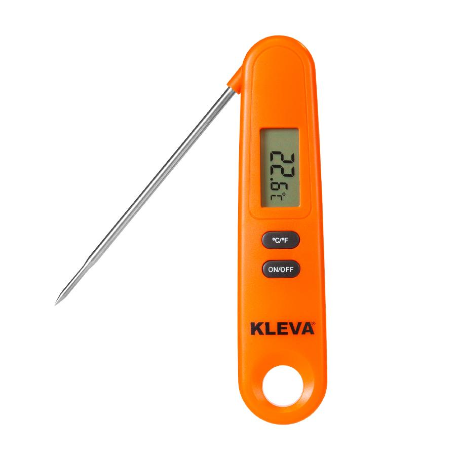Orange Meat Thermometer front view on a white background