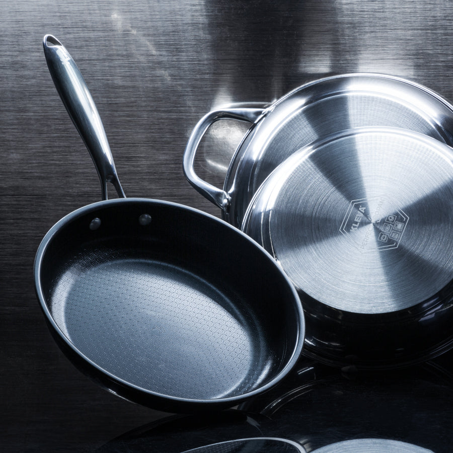 Dual image of the Perfect Pro Pan with the front view in the forefront and the base in the background.