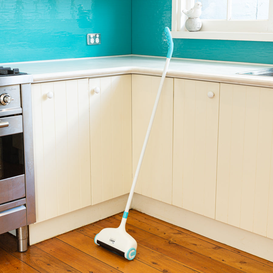 Sweep and Keep sitting upright in a kitchen