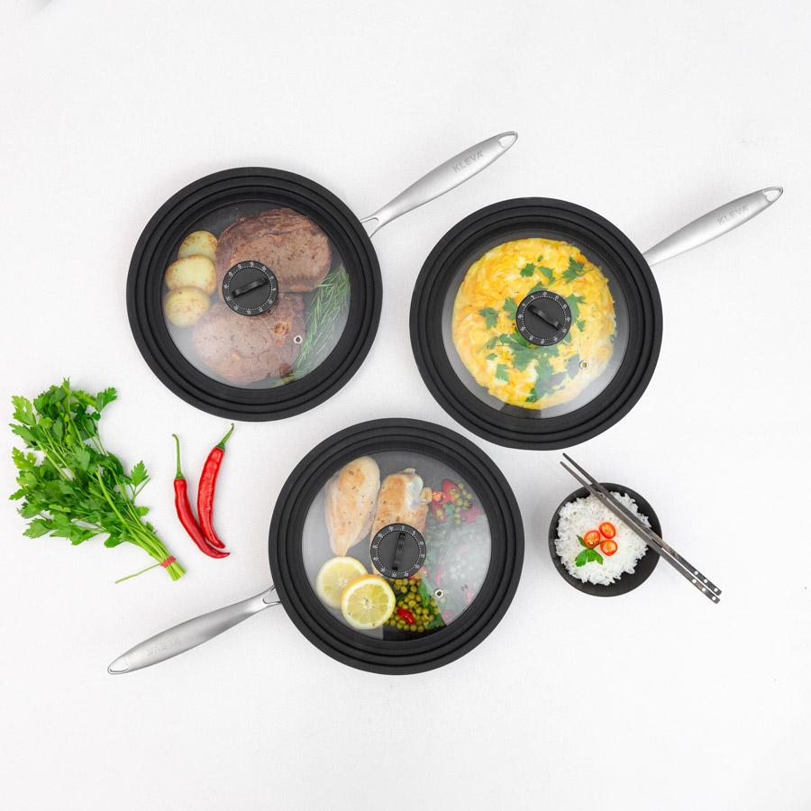 All 3 Perfect Pro Pans each with a Timer Lid (offer only includes 1 lid)