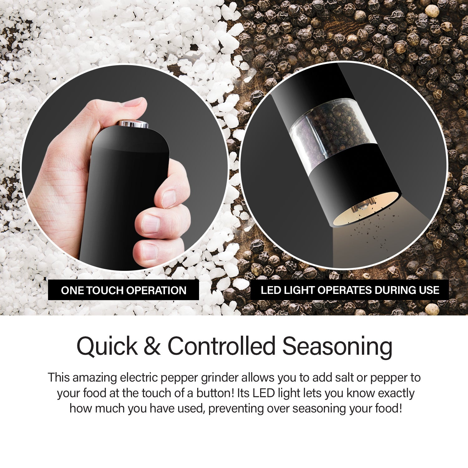 Kleva Electric Pepper & Salt Grinder With LED Light - Two Pack!
