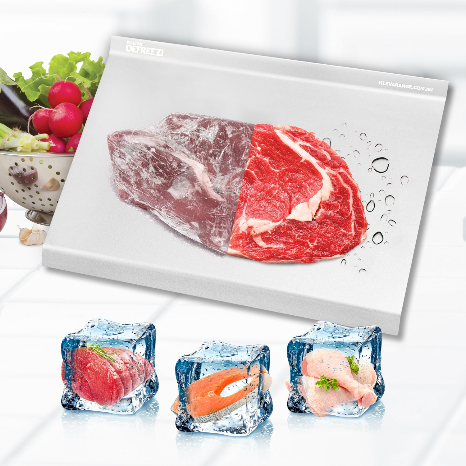 Kleva Defreezi® Defrosting Tray Thaw Meat Up To 5X FASTER! + 60 Day Guarantee - Double Offer!