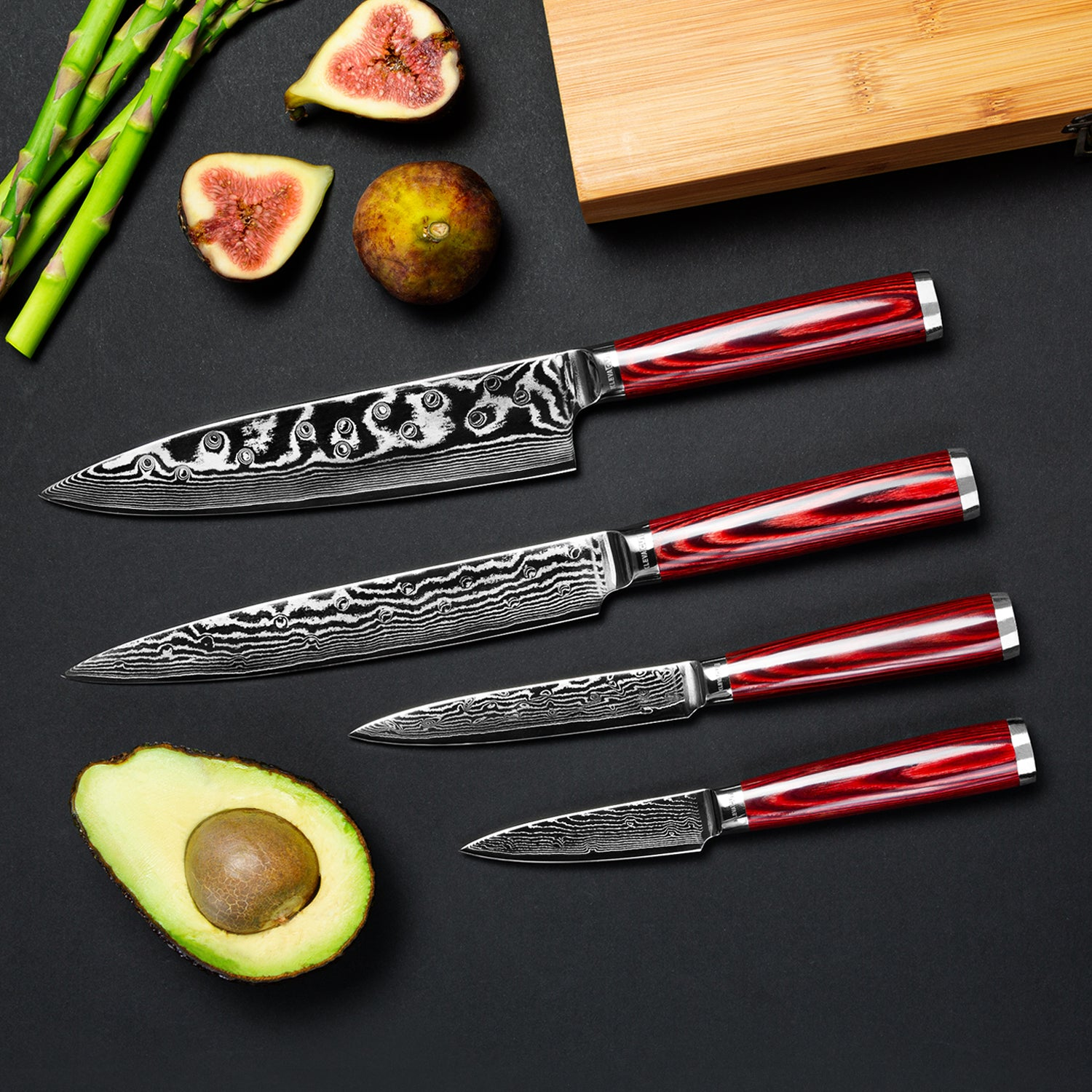 Stunning 67 layer Damascus Steel Knife set FREE Postage 10 year guarantee
