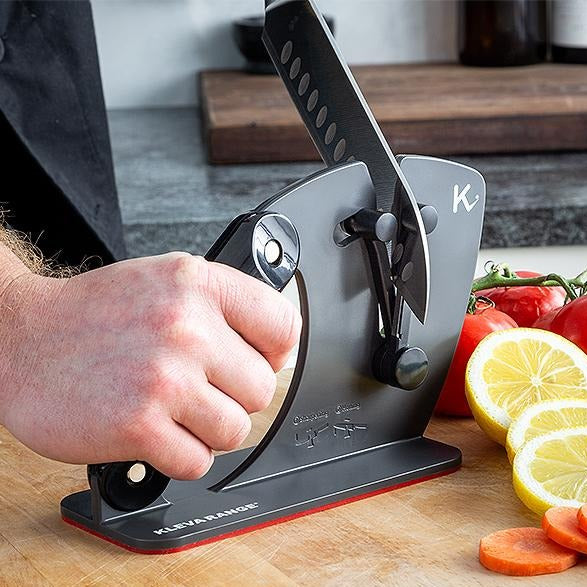 Kleva Sharp® Master Adjustable Knife Sharpener & Honing Plate + Santoku Knife