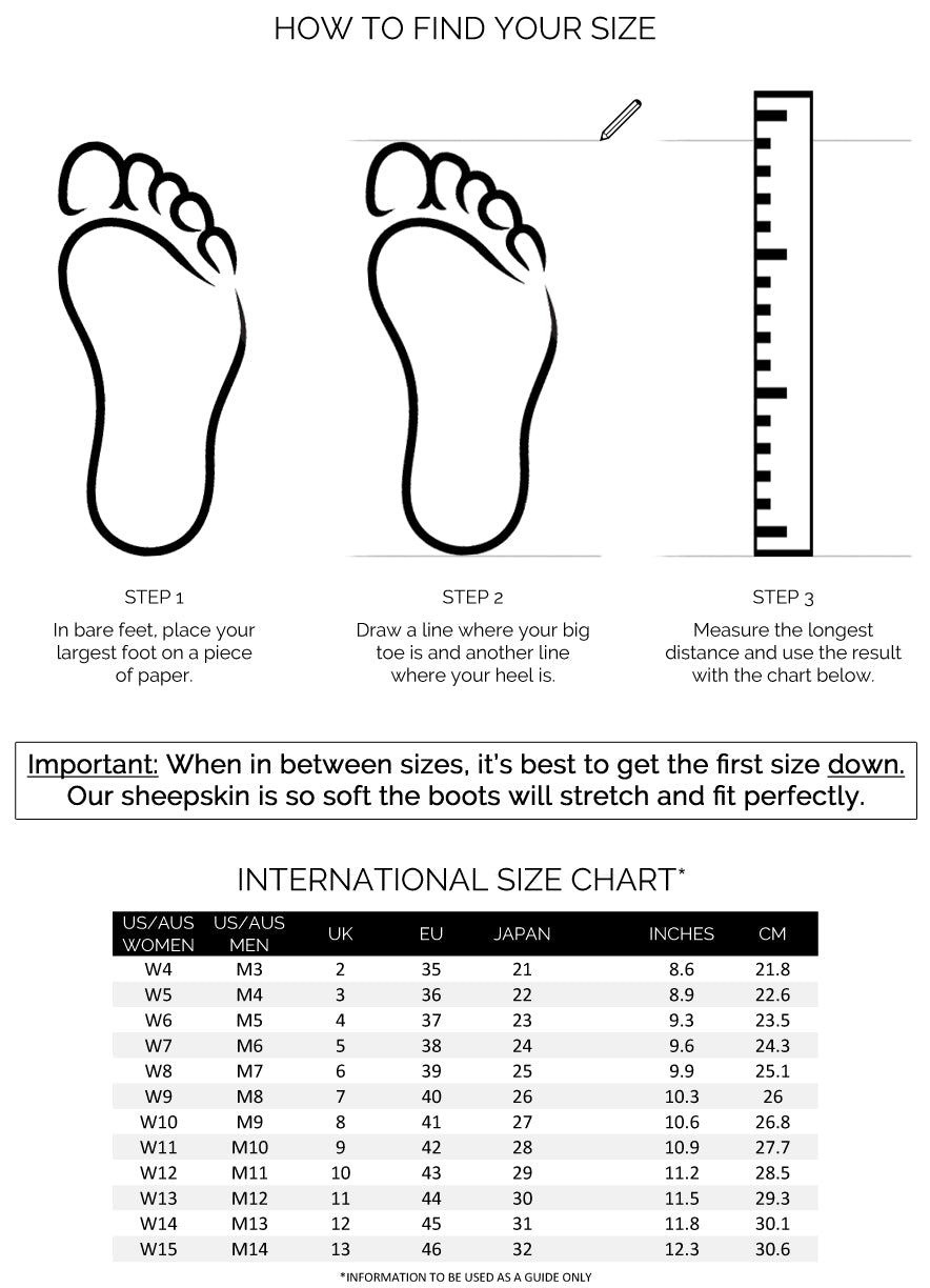 Ugg Boot Size chart