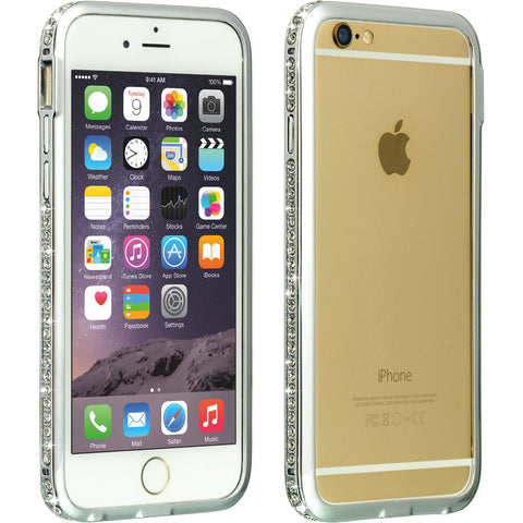 APPLE IPHONE 6 LUXURY DIAMOND ALUMINUM BUMPER CASE FRONT AND BACK 2 PC - SILIVER