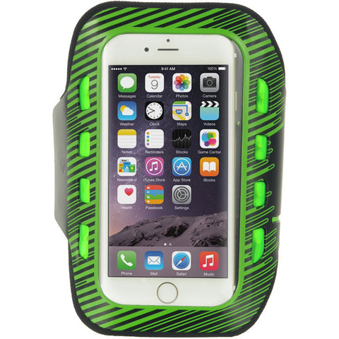APPLE IPHONE 6/6S LED SPORT ARMBAND+KEY HOLDER ADJUSTABLE 3 LEVELS OF LED GREEN
