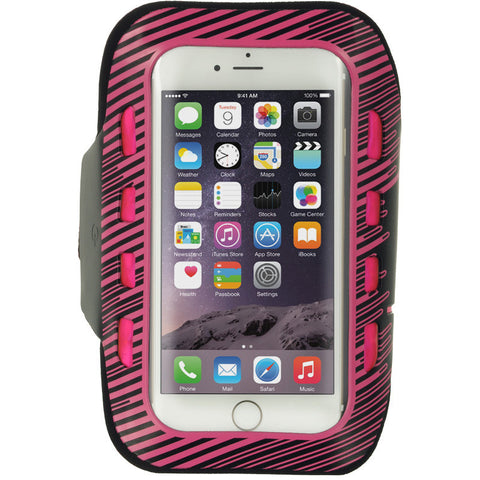 APPLE IPHONE 6/6S LED SPORT ARMBAND+KEY HOLDER ADJUSTABLE 3 LEVELS OF LED HOT PINK