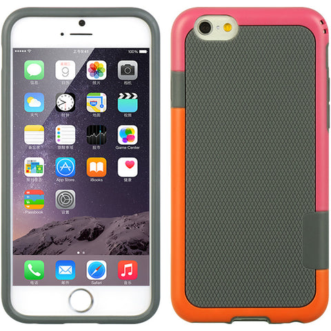 "APPLE IPHONE 6/6S (4.7"") CANDY BUMPER CASE TPU + BASKETBALL TEXTURE PC - HOT PINK/ ORANGE"