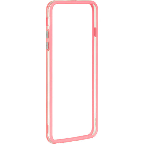 APPLE IPHONE 6 PLUS/6S PLUS HARD BUMPER CANDY CASE PINK TRIM W/ CLEAR PC