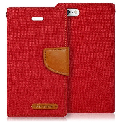 ECLIPSE For Coolpad Catalyst (T-Mobile/MetroPCS) Canvas Pocket Wallet Credit Card Holder Case, Red