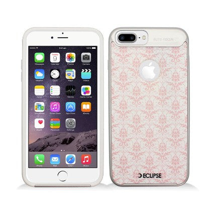 ECLIPSE**PDA**For Apple iPhone 7 5.5 Plus Slim Fit Combo Hybrid Dual Layer Protector Cover, Pastel Pink & White Damask