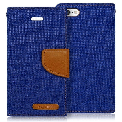 ECLIPSE For Kyocera Hydro Reach C6743 (Boost Mobile)/ Hydro View C6742 (Cricket) Canvas Pocket Wallet Credit Card Holder Case, Blue