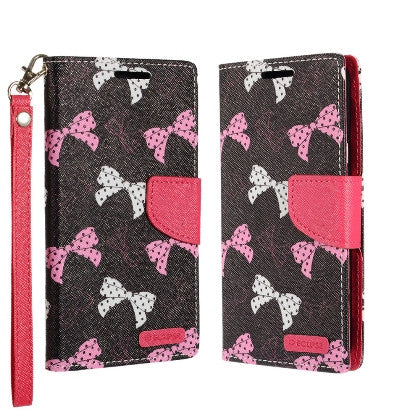 ECLIPSE For LG V20 (Verizon/AT&T/Sprint/T-Mobile/U.S. Cellular) Luxury Flip PU Leather Image Folio Cover Wallet, Polka Dot Bows