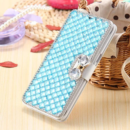 **PDA**ECLIPSE For Samsung Galaxy S7 edge (Verizon/ AT&T/Sprint/T-Mobile/U.S. Cellular) Luxury Wallet Bling Rhinestone Crystal Diamond Flip Case, Blue