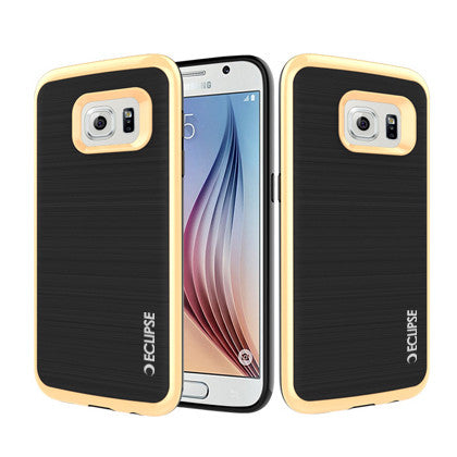 ECLIPSE **PDA**For Samsung Galaxy S7 edge (Verizon/ AT&T/Sprint/T-Mobile/U.S. Cellular) 3 in 1 Slim Fit Protective Black Hard Cover & Gold TPU