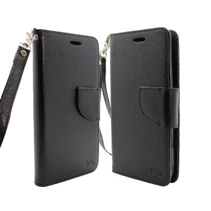 For Coolpad Catalyst (T-Mobile/MetroPCS) 2 Tone Deluxe Dual-Use Flip PU Leather Case, Black/Black w/Logo