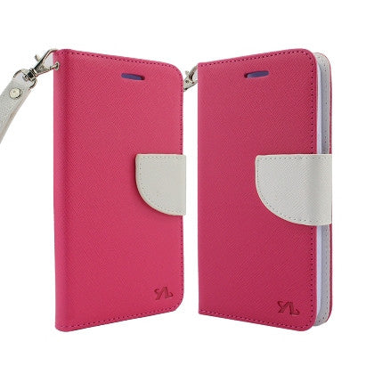 For Coolpad Catalyst (T-Mobile/MetroPCS) 2 Tone Deluxe Dual-Use Flip PU Leather Case, Hot Pink/White w/Logo