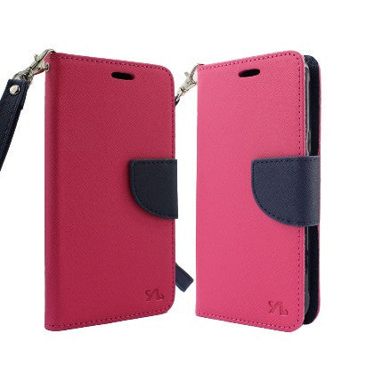 For Coolpad Catalyst (T-Mobile/MetroPCS) 2 Tone Deluxe Dual-Use Flip PU Leather Case, Hot Pink/Dark Blue w/Logo