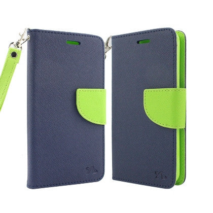 For Coolpad Catalyst (T-Mobile/MetroPCS) 2 Tone Deluxe Dual-Use Flip PU Leather, Blue/ Green w/Logo