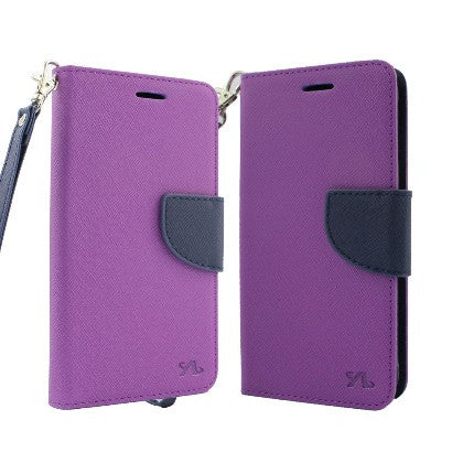 For Coolpad Catalyst (T-Mobile/MetroPCS) 2 Tone Deluxe Dual-Use Flip PU Leather Case, Purple/Dark Blue w/Logo