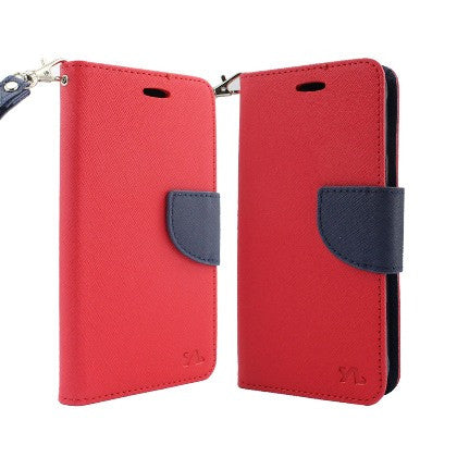 For Coolpad Catalyst (T-Mobile/MetroPCS) 2 Tone Deluxe Dual-Use Flip PU Leather Case, Red/Navy w/Logo