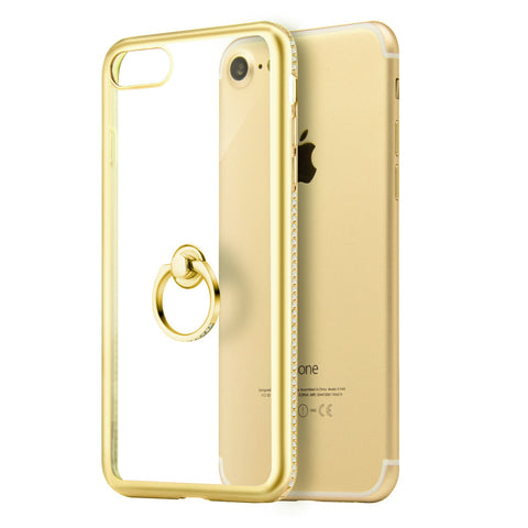 APPLE IPHONE 7 DIAMOND JEWEL TRANSPARENT TPU RING CASE WITH  CHROME BLING FRAME - GOLD
