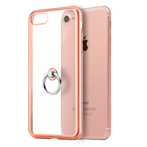 APPLE IPHONE 7 DIAMOND JEWEL TRANSPARENT TPU RING CASE WITH  CHROME BLING FRAME - PINK