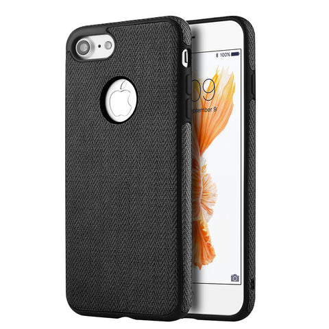 APPLE IPHONE 7 LEATHERETTE TPU COVER CASE - BLACK