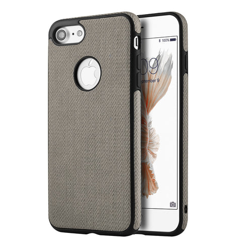 APPLE IPHONE 7 LEATHERETTE TPU COVER CASE - GREY
