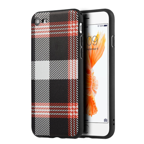 APPLIE IPHONE 7 PLAID TPU SOFT COVER CASE - RED