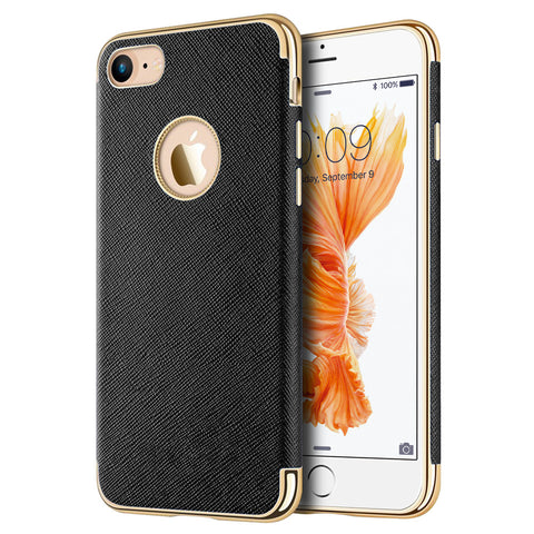 APPLE IPHONE 7 SAFFIANO LUXURY TPU CASE WITH ELECTROPLATED    FRAME / BUTTONS AND BUILT-IN MAGNATIC METAL PLATE - BLACK