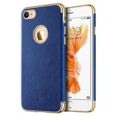 APPLE IPHONE 7 SAFFIANO LUXURY TPU CASE WITH ELECTROPLATED    FRAME / BUTTONS AND BUILT-IN MAGNATIC METAL PLATE - BLUE