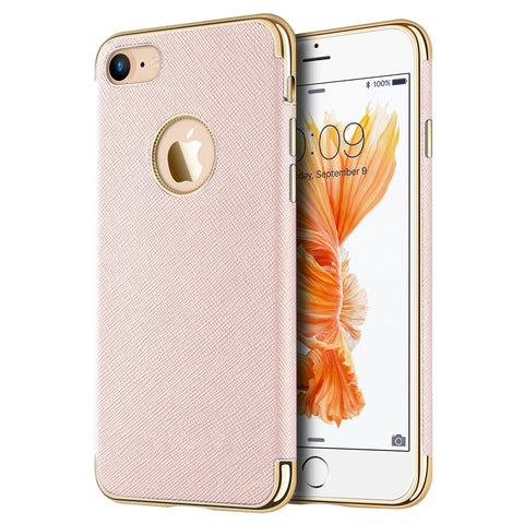 APPLE IPHONE 7 SAFFIANO LUXURY TPU CASE WITH ELECTROPLATED    FRAME / BUTTONS & BUILT-IN MAGNATIC METAL PLATE - ROSE GOLD