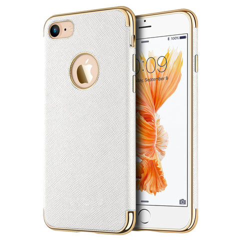 APPLE IPHONE 7 SAFFIANO LUXURY TPU CASE WITH ELECTROPLATED    FRAME / BUTTONS AND BUILT-IN MAGNATIC METAL PLATE - WHITE