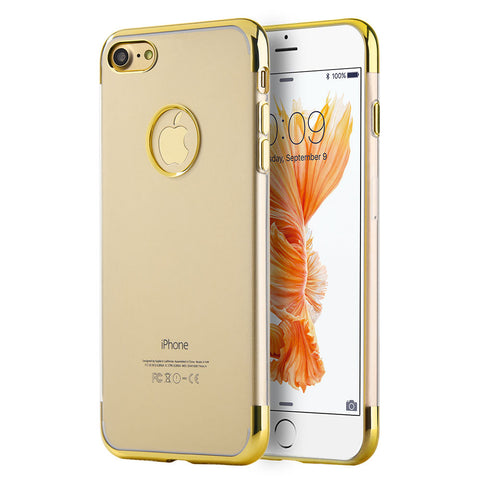 APPLE IPHONE 7 SKYFALL TRANSPARENT TPU CASE W/ ELECTROPLATED UPPER & LOWER FRAME - GOLD