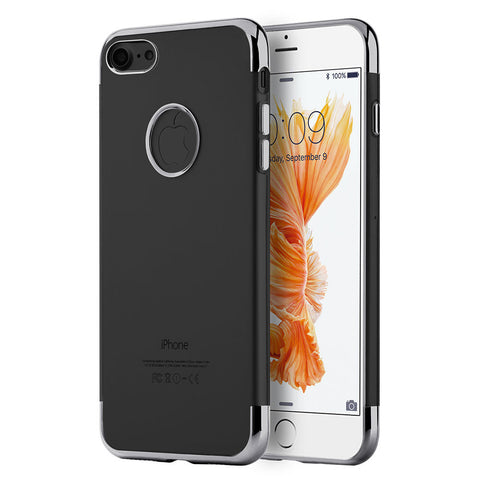 APPLE IPHONE 7 SKYFALL TRANSPARENT TPU CASE W/ ELECTROPLATED UPPER & LOWER FRAME - GREY
