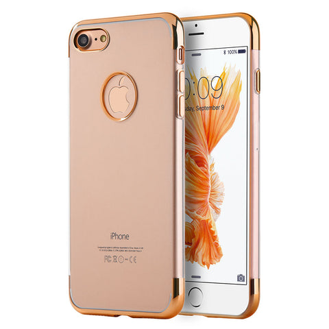 APPLE IPHONE 7 SKYFALL TRANSPARENT TPU CASE W/ ELECTROPLATED UPPER & LOWER FRAME - ROSE GOLD