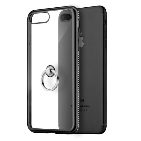 APPLE IPHONE 7 PLUS DIAMOND JEWEL TRANSPARENT TPU RING CASE  WITH CHROME BLING FRAME - BLACK
