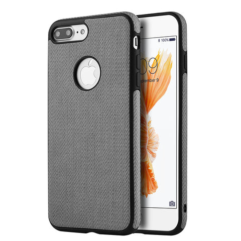 APPLE IPHONE 7 PLUS LEATHERETTE TPU COVER CASE - GREY