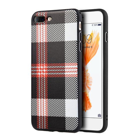 APPLIE IPHONE 7 PLUS PLAID TPU SOFT COVER CASE - RED