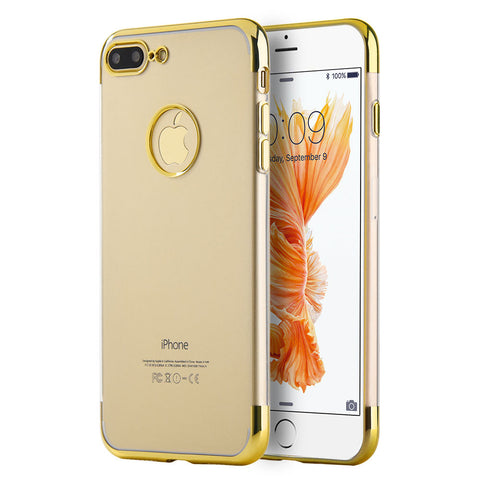 APPLE IPHONE 7 PLUS SKYFALL TRANSPARENT TPU CASE WITH        ELECTROPLATED UPPER & LOWER FRAME - GOLD