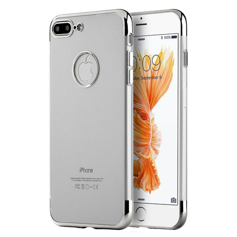 APPLE IPHONE 7 PLUS SKYFALL TRANSPARENT TPU CASE WITH        ELECTROPLATED UPPER & LOWER FRAME - GRAY