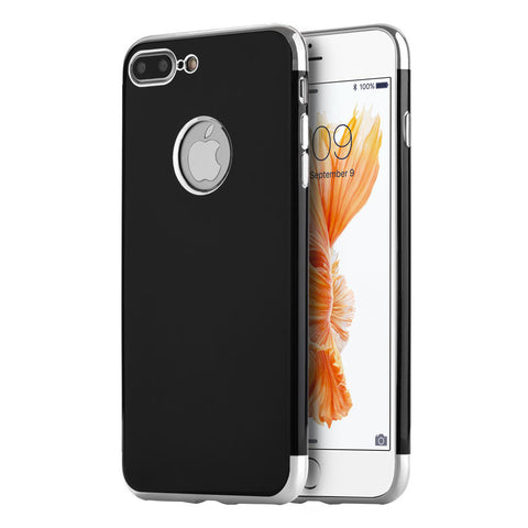 APPLE IPHONE 7 PLUS SKYFALL JET BLACK TPU CASE WITH          ELECTROPLATED UPPER & LOWER FRAME - SILVER