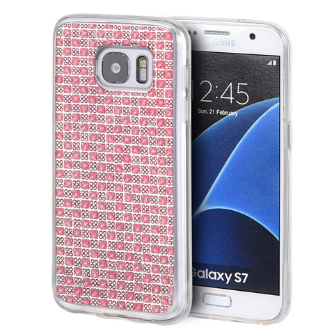 SAMSUNG GALAXY S7 CRYSTAL SKIN CASE W/  ICY BLING DIAMOND PINK