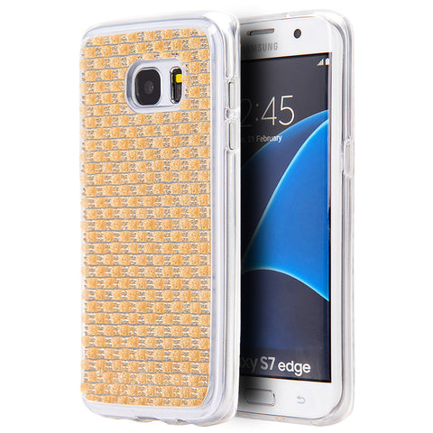 SAMSUNG GALAXY S7 EDGE CRYSTAL SKIN CASE W/  ICY BLING DIAMONDCHAMPAGNE GOLD