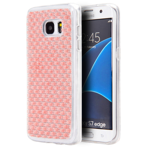 SAMSUNG GALAXY S7 EDGE CRYSTAL SKIN CASE W/  ICY BLING DIAMONDPINK