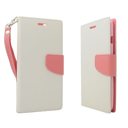**PDA**For Apple iPhone 6/6S plus 5.5 inch 2 Tone Deluxe Dual-Use Flip PU Leather Case, White/Light Pink