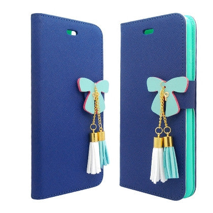 **PDA**For Apple iPhone 6/6S plus 5.5 inch 2 Tone Deluxe Dual-Use Flip PU Leather Case, Navy Blue/Light Green w/Tassels