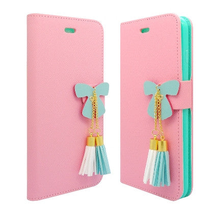 **PDA**For Apple iPhone 6/6S plus 5.5 inch 2 Tone Deluxe Dual-Use Flip PU Leather Case, Light Pink/Green w/Tassels